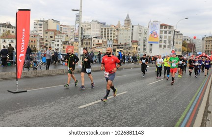 ISTANBUL, TURKEY - NOVEMBER 12, 2017: Athletes running in 39. Istanbul marathon which includes two continents in one race. Marathon starts on the Asian side and finishs in European side of Istanbul.
