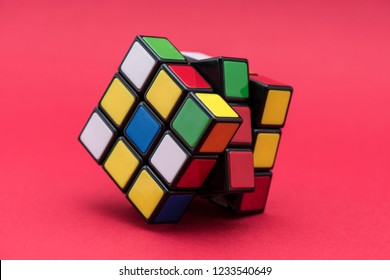 ISTANBUL - TURKEY -NOVEMBER 12, 2018: Rubik's cube on the color background. Rubik's Cube invented by a Hungarian architect Erno Rubik in 1974.