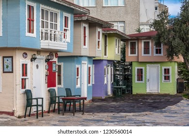 Istanbul, Turkey, November 13, 2012: Small, coloful wooden houses in Balat.