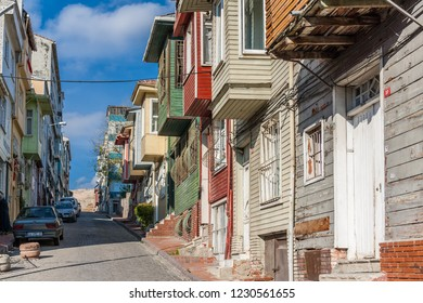 Istanbul, Turkey, November 13, 2012: Street in Balat showing colorful wooden houses, typical of Turkish architecture.