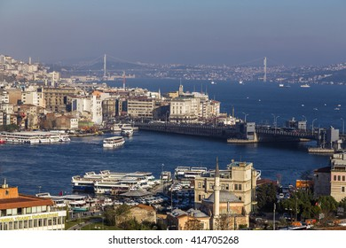 Istanbul, Turkey - November 13, 2015: View of the Bosphorus from Suleymaniye Mosque built by the legendary Ottoman Sultan Suleiman the Magnificent overlooking the Golden Horn, on November 13, 2015