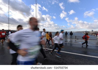 ISTANBUL, TURKEY - NOVEMBER 13, 2016 - Participants cross the Bosphorus Bridge from European to Asian side during Vodafone 38th Istanbul Marathon