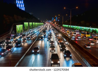 ISTANBUL, TURKEY - November 13, 2018 : Volume of night traffic and congestion in istanbul. Maltepe and Kadikoy direction (D100)