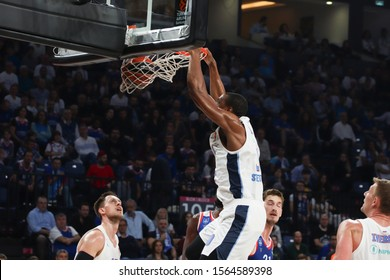 ISTANBUL / TURKEY, NOVEMBER 14, 2019: Will Thomas dunks during EuroLeague 2019-2020 Round 8 basketball game between Anadolu Efes and Zenit St Petersburg at Sinan Erdem Dome.