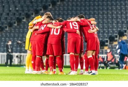 Istanbul, Turkey – November 15, 2020. Turkey national football team huddling before UEFA Nations League match Turkey vs Russia (3-2) in Istanbul.