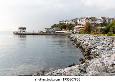 Istanbul, Turkey – November 15, 2020. Moda coastline in Kadikoy neighborhood of Istanbul, toward the Moda Pier jutting out into the Sea of Marmara.