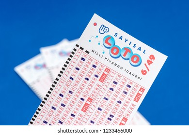 ISTANBUL, TURKEY - NOVEMBER 17, 2018. Close up of Turkish lottery (Turkish: Sayisal Loto) ticket.