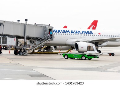 Istanbul, Turkey - November 17, 2018. Istanbul Ataturk airport which is out of service now. Airport Bridge to a Turkish Airlines commercial aeroplane.