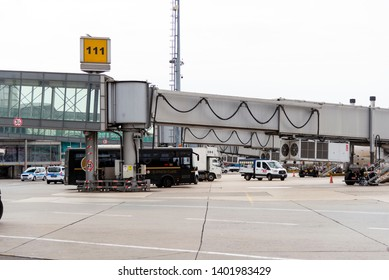 Istanbul, Turkey - November 17, 2018. Istanbul Ataturk airport which is out of service now. Airport Bridge to a plane.