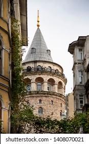 Istanbul, Turkey - November 17, 2018. The historical an touristic place Galata tower in Beyoglu Sisli Istanbul