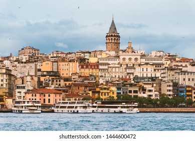 Istanbul, Turkey - November 17, 2018. Landscape of Karakoy Istanbul with steam boats, sea. and Galata Tower. Istanbul Turkey.