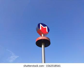 Istanbul / Turkey - November 17, 2019: Istanbul Metro sign. Logo of istanbul Metro. Symbol of istanbul subway in street.