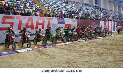 ISTANBUL, TURKEY - NOVEMBER 18, 2017: Riders in start line during Istanbul Supercross championship in Atakoy Athletics Arena.