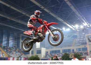 ISTANBUL, TURKEY - NOVEMBER 18, 2017: Unidentified rider in action during Istanbul Supercross championship in Atakoy Athletics Arena.