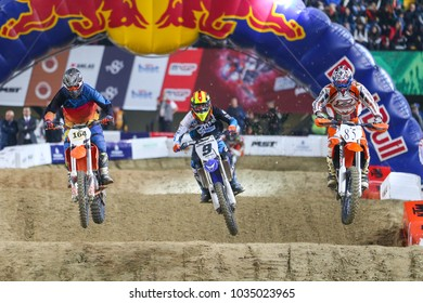 ISTANBUL, TURKEY - NOVEMBER 18, 2017: Unidentified riders in action during Istanbul Supercross championship in Atakoy Athletics Arena.