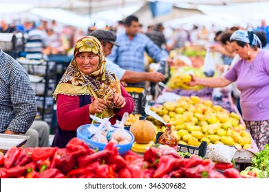 ISTANBUL, Turkey - November 2, 2015: Turkish vegetable grocery bazaar. The Grand Bazaar is one of the largest and oldest covered markets in the world.