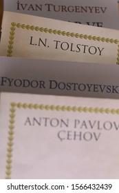 ISTANBUL, TURKEY - NOVEMBER 20 2019. A photo of books of most important writers of russian literature. Fyodor Dostoevsky, Anton Pavlovich Chekhov, Leo Tolstoy, Ivan Turgenev.