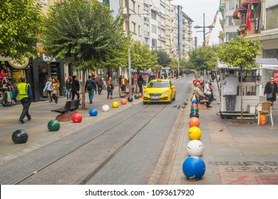 ISTANBUL, TURKEY - November, 2015: Street Life in the Asian part of Istanbul in the Kadikoy district.