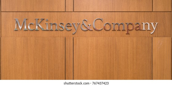 Istanbul, Turkey - November 2017: Mckinsey and Company logo at the front desk reception of Istanbul office