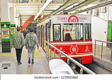 ISTANBUL, TURKEY - NOVEMBER 2018, 10 - Tunel historical underground funicular line at Beyoglu station, opened in 1875