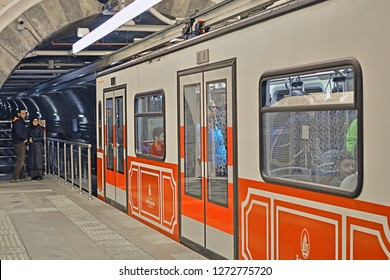 ISTANBUL, TURKEY - NOVEMBER 2018, 10 - Tunel historical underground funicular line at Karakoy station, opened in 1875