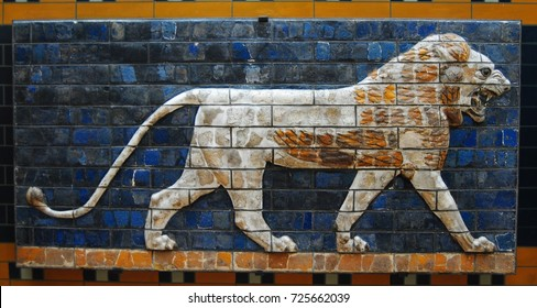 ISTANBUL, TURKEY - NOVEMBER 22, 2014. Glazed panel depicting lion from the processional street and Ishtar gate of ancient Babylon at the Museum of the Ancient Orient of Istanbul Archaeology Museum.