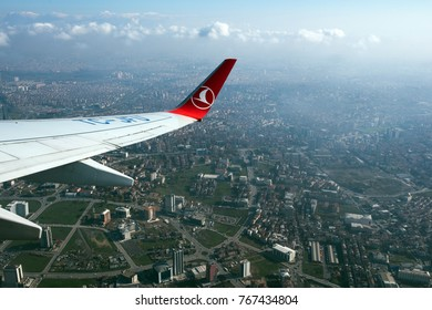 Istanbul, Turkey - November 23, 2017: ISTOC commercial center is pictured through the window of a Turkish Airlines (THY)  aircraft after it took off from Ataturk International airport