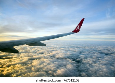 Istanbul, Turkey - November 23, 2017: Pictures through the window of a Turkish Airlines (THY) aircraft