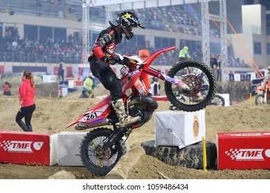 ISTANBUL, TURKEY - NOVEMBER 25, 2017: Unidentified rider in action during Istanbul Superenduro championship in Atakoy Athletics Arena.