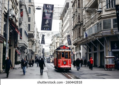 ISTANBUL, TURKEY - NOVEMBER 28: Old tram at Istiklal Avenue in Istanbul, Turkey on November 28, 2014