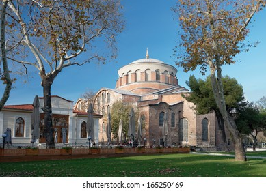 ISTANBUL, TURKEY - NOVEMBER 30: Hagia Irene church. The biggest Byzantine church. Benefiting from the Roman ruins of temples, was built by Constantine in 324 to 337 years. Taken on November 30, 2013