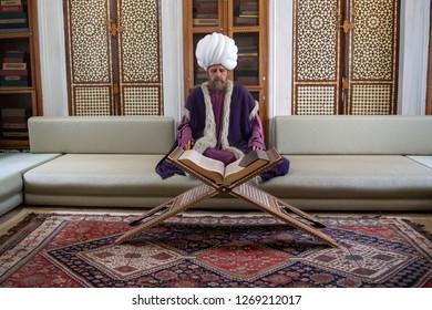 Istanbul, Turkey - November 5th, 2018: Sultan's reading room at Topkapi Palace Museum.