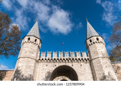 Istanbul, Turkey - November 7,2018: Entrance of The Topkapi Palace. People are visiting The gate of Salutation in Topkapi Palace. Topkapi Palace is popular tourist attraction in the Turkey.