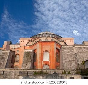 ISTANBUL, TURKEY - NOVEMBER 8, 2017: Exterior of famous ancient Hagia Sophia, or Ayasofya temple