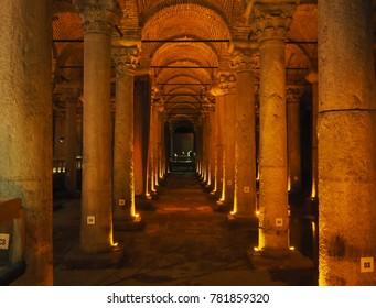 ISTANBUL, TURKEY - NOVEMBER 8, 2017: Yerebatan Saray - Basilica Cistern in Istanbul, Turkey. Yerebatan Saray is one of favorite tourist attraction in Istanbul.