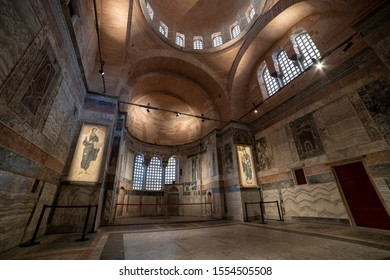 ISTANBUL, TURKEY, NOVEMBER 8, 2019: Wide angle interior detail from  Chora Museum, a medieval Byzantine Greek Orthodox church preserved as the Chora Museum in Edirnekapi, Istanbul.