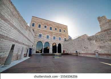 ISTANBUL, TURKEY, NOVEMBER 8, 2019: Exterior detail from Tekfur Palace,a late 13th-century Byzantine palace in the north-western part of the old city of Constantinople (present-day Istanbul, Turkey).