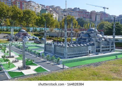 ISTANBUL TURKEY OCOTBER 6: Blue Mosque Miniaturk is a miniature park situated on Golden Horn in Istanbul, Turkey. It is one of the world's largest miniature parks on oct, 6 2013.