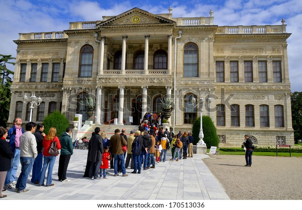 ISTANBUL TURKEY OCT 02: Dolmabahce Palace on oct 02, 2013 in Istanbul, Turkey. Dolmabahce Palace was ordered by the Ottoman Empire's 31st Sultan, Abdulmecid I, and built between the years 1843 & 1856.