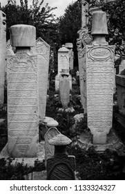 Istanbul, Turkey, Oct 2015: Sultanate gravestones in Fatih Mosque, Istanbul