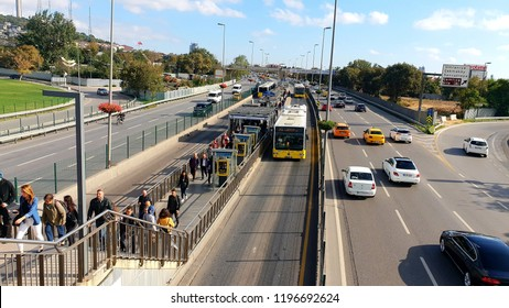 Istanbul Turkey / Oct 6 2018 - Istanbul public transport - vehicle called Metrobus goes own way with non traffic, people usually use it. photo was taken at Altunizade Station