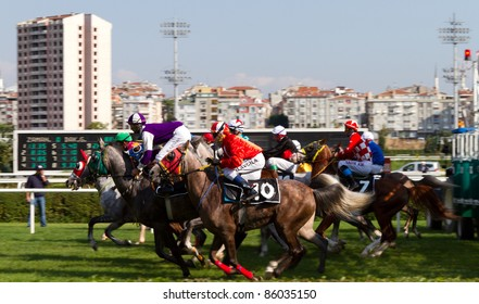 ISTANBUL, TURKEY - OCTOBER 02: Unidentified riders at the start of 3rd race on October 02, 2011 in Veliefendi Racecourse, Istanbul, Turkey.