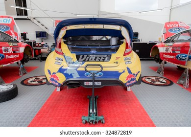 Istanbul, Turkey -  October 03, 2015: Rear view of Ford Fiesta from Rx World Rally Cross Series at Intercity Istanbul Park