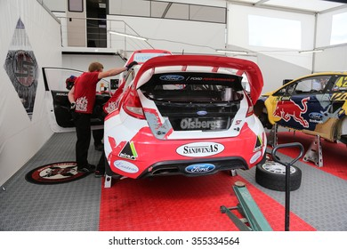 ISTANBUL, TURKEY - OCTOBER 03, 2015: Ford Fiesta ST in OlsbergsMSE AB Team garage during FIA World Rallycross Championship.
