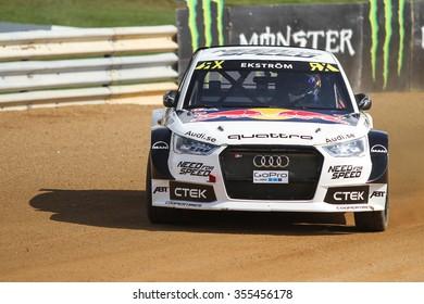 ISTANBUL, TURKEY - OCTOBER 03, 2015: Mattias Ekstrom drives Audi S1 of EKS Team in FIA World Rallycross Championship.