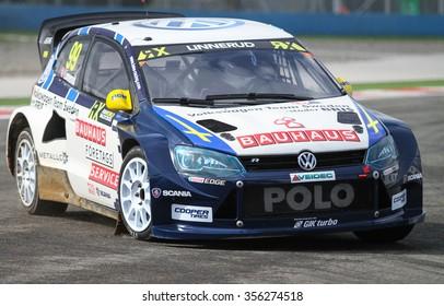ISTANBUL, TURKEY - OCTOBER 03, 2015: Tord Linnerud drives Volkswagen Polo of Volkswagen Team Sweden in FIA World Rallycross Championship.