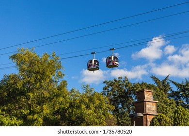 Istanbul, Turkey - October 03, 2018: Cable car Teleferik on Macka Park in Istanbul, Turkey