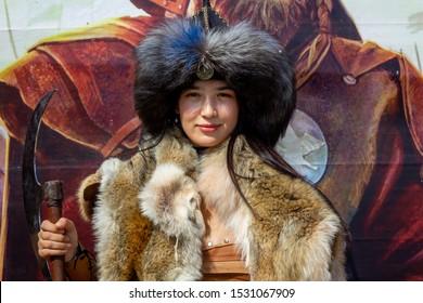Istanbul / Turkey - October 04 2019: 4. Etnospor cultural festival. Mongolian woman warrior