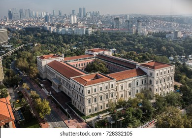 ISTANBUL, TURKEY - OCTOBER 05: Historical building of Istanbul Technical University in Gumussuyu on October 05, 2017 in Istanbul, Turkey.