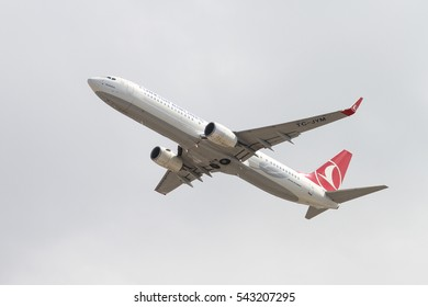 ISTANBUL, TURKEY - OCTOBER 08, 2016: Pegasus Airlines Boeing 737-9F2ER (CN 42011) takes off from Istanbul Ataturk Airport. Pegasus Airlines has 77 fleet size and more than 102 destinations